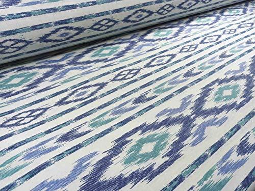 RIVERO TEJIDOS. Tejido de loneta con estampado mallorquín verde/azul con 280 cm de ancho. Se vende por metros. Ideal para la confección de cortinas, manteles.