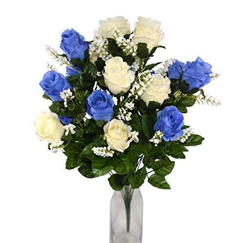 Herran Fiori Artificiali Rose di Seta, realistica Singola a Gambo Lungo Rosa Finta, Bouquet da Sposa da Sposa in Seta per Decorazioni da Ufficio in casa per Feste in Giardino 21 Pezzi (Blu e Bianco)