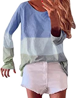 Howely Womens Oversized Color Block Scoop Neck Long Sleeve Tees Shirt Blouse
