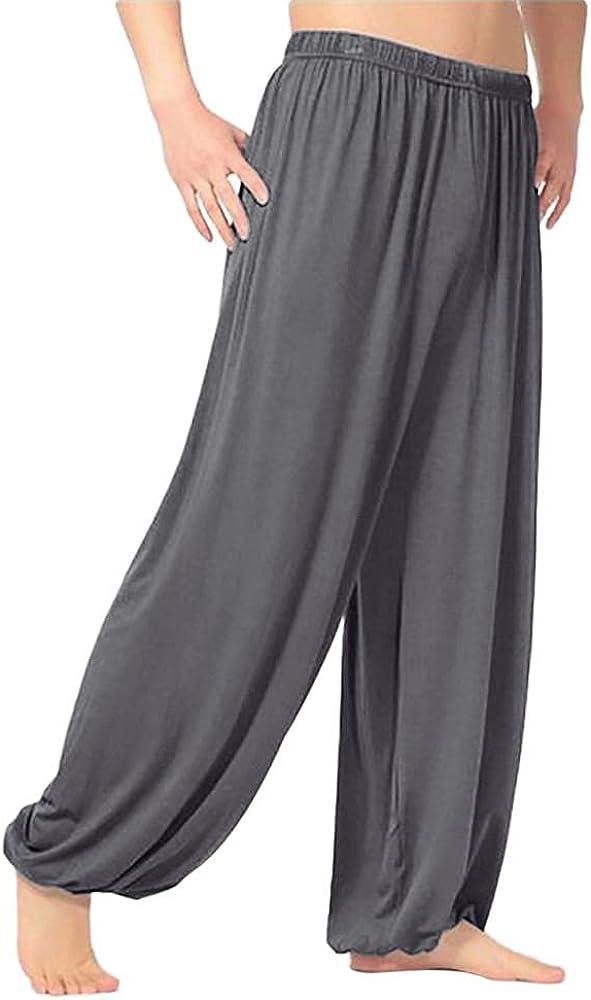 Beshion Men's Pants Casual Baggy Pants Elastic Waist Relax Fit Trousers Solid Loose Sweatpants Jogger Dancing Yoga Pant