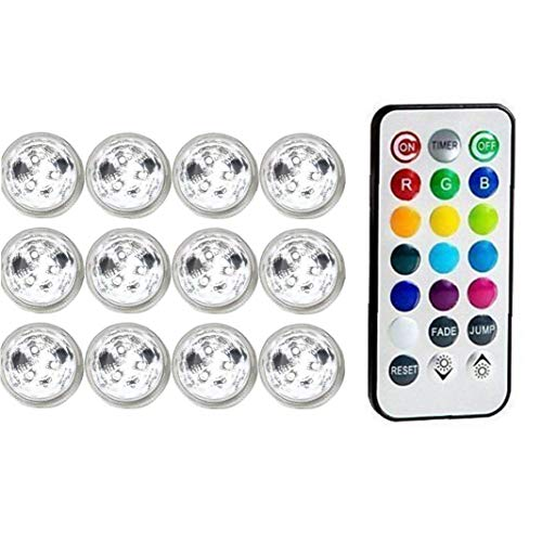 Submersible LED Light Underwater Disco Hot Tub Candle with Remote RGB for Pond Pool Vase Base Fish Tank Garden Pond Lights