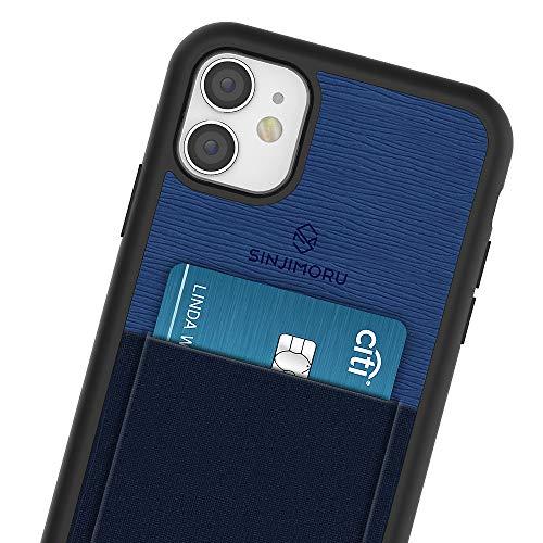 Sinjimoru - Funda para iPhone 11 con Billetera Fina, Funda Protectora de Poliuretano termoplástico con Tarjetero para la Parte Posterior del teléfono - Azul