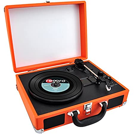 Upgraded Vintage Record Player - Classic Vinyl Player, Turntable, Rechargeable Batteries, Bluetooth, MP3 Vinyl, Music Editing Software Included, Works w/ Mac & PC, 3 Speed