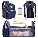 nuosife 3 in 1 Diaper Bag Backpack with Changing Station, Large Capacity Mummy Bag with Foldable Crib Bed, Baby Bag with Travel Bassinet, Portable Waterproof Multifunctional Diaper Bag (Navy Blue)