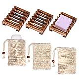 Queta Seifendose, Holz Seifenschalen Box mit Seifensäckchen Sisal Handarbeit Seifenhalter für...