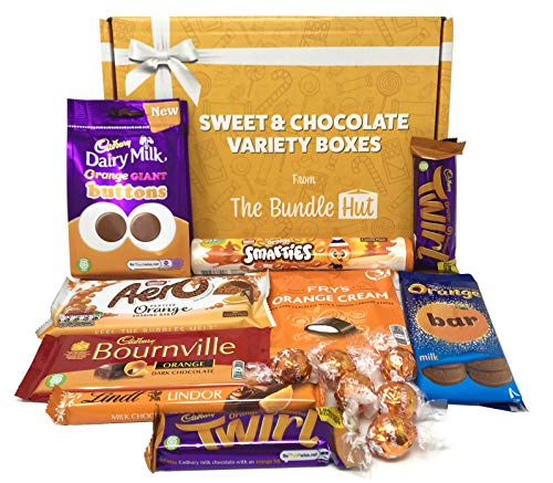 Chocolate Orange Gift Set Hamper Selection Box from The Bundle Hut: Includes Cadbury Orange Buttons, Orange Twirl & Lindt, Gift for Christmas, 900g