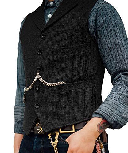 Lovee Tux Herringbone Weste Formale Business Notch Revers Männer Anzug Weste Wolle/Tweed Weste für Hochzeit(M,Schwarz)