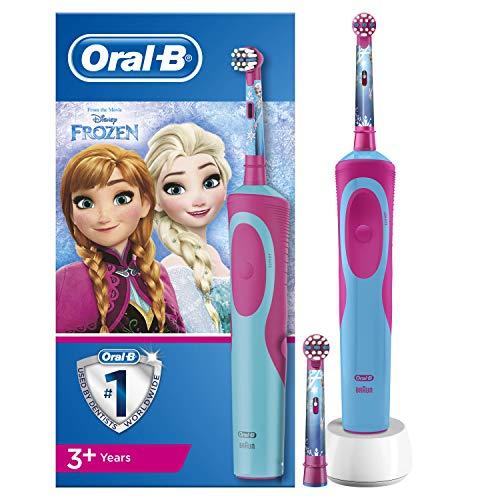 Oral-B Elektrische Zahnbürste, 1 Disney-Frozen-Griff, wiederaufladbar, mit Braun-Technologie, 2 Ersatzköpfe, geeignet für Kinder ab 3 Jahren