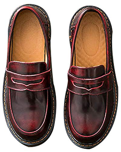 Women's Casual Genuine Leather Penny Loafers Driving Moccasins Slip-On Boat Flats Shoes (US 8, red)