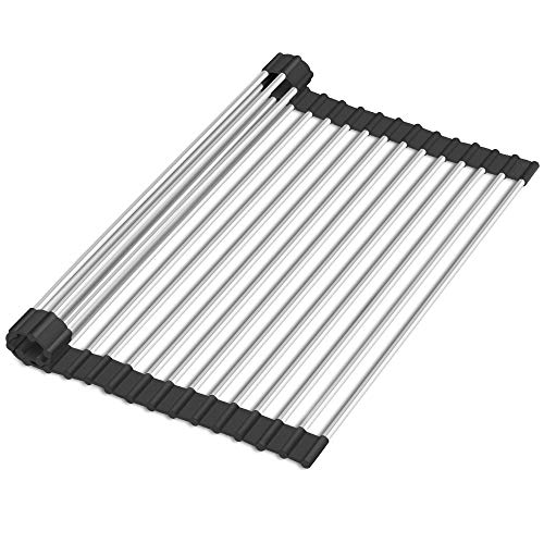 17quotx15quot Roll Up Dish Drying Rack Premium 304 Stainless Steel Over Sink Kitchen Drainer Rack with Silicone Rims Black