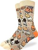 Good Luck Sock Men's Sweater Cats Socks - Brown, Adult Shoe Size 7-12