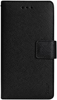Reiko Premium Wallet Case with Stand, Flip Cover and 2 Card Holder for Alcatel Onetouch Evolve 2 4037T - Retail Packaging - Black