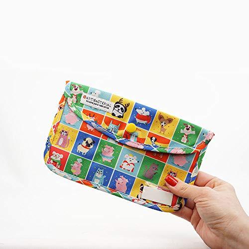 LIVEFISH Estuche Infantil Bolso de mascarilla de Tela con Dibujos Porta mascarillas Almacenamiento de mascarilla Anti Polvo Lavable Plegable (Animales)