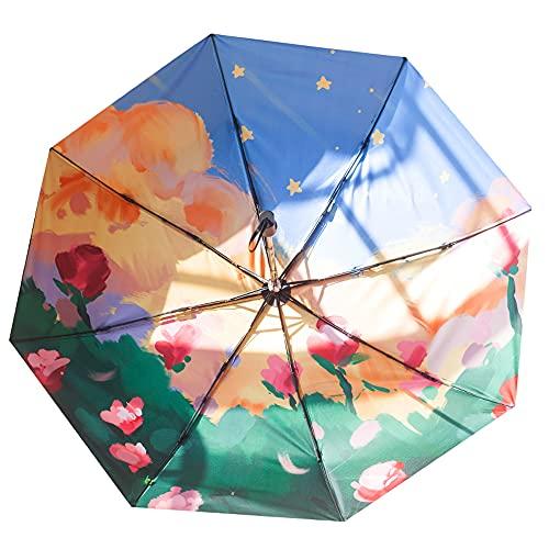 Chnrong Mini paraguas de pintura al óleo, paraguas de bolsillo, 8 costillas, ligero, compacto, plegable, resistente al viento, lluvia y sombrilla con marco reforzado para viajes, escuela, vida diaria