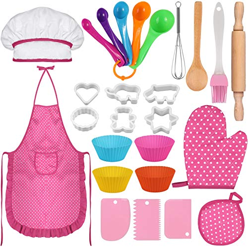 26 PCS Kids Kitchen Cooking and Baking Set, Chef Sets with Apron, Hat, Glove, Mat, Spoons, Cookie Cutter, Silicone Cupcake Moulds, Kids Chef Role Play for 7-14 Years Old Girls (Pink)