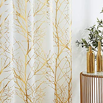 Fmfunctex Metallic Tree Sheer Curtains Living-Room Branch Print Gold White Curtains 84 inches Linen Texture Semi-Sheers for Bedroom Window Treatment Set Grommet Top 2Panels