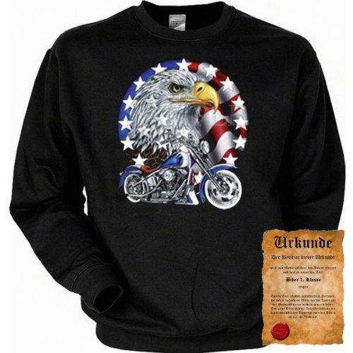 trag-das Cooles Biker Sweatshirt + Ukunde - Motiv Bike with Eagle - Sweater Herren Motorrad Pullover Pulli Geschenk Geburtstag