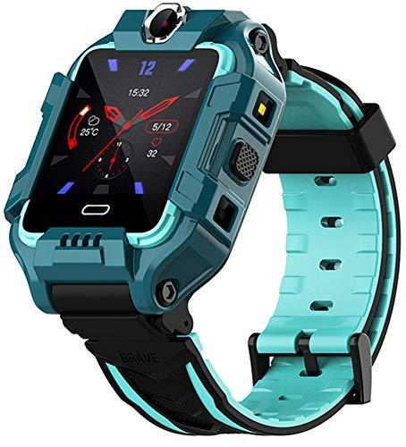XWZ Reloj Inteligente para Niños Pulsera Inteligente 4G LTE SIM Posición GPS Girar Cámaras Duales Videollamada Reloj Inteligente para Niños Rastreador De Actividad Física,Verde