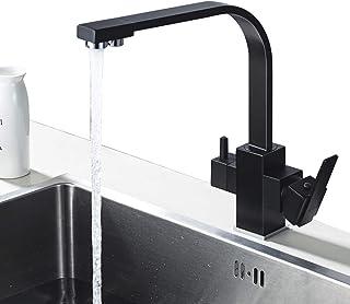 Grifo Cocina Negro para Osmosis 3 Vías, 360º Giratorio Grifería de Fregadero para Cocina, Grifo para Osmosis Inversa