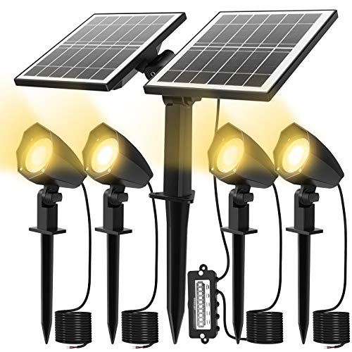 CLY Foco LED para exteriores con paneles solares, 4 en 1 Proyector solar para césped IP66 Impermeable, Blanco cálido 3000K Foco LED para jardín, patio, césped, Pation, Auto ON / OFF