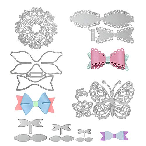 10pcs Bow Tie Cutting Dies,BAPHILE 3D Bow Embossing Stencils Metal Die Cuts for Card Making Scrapbook Photo Album Gift Wrapping Decor and DIY Craft