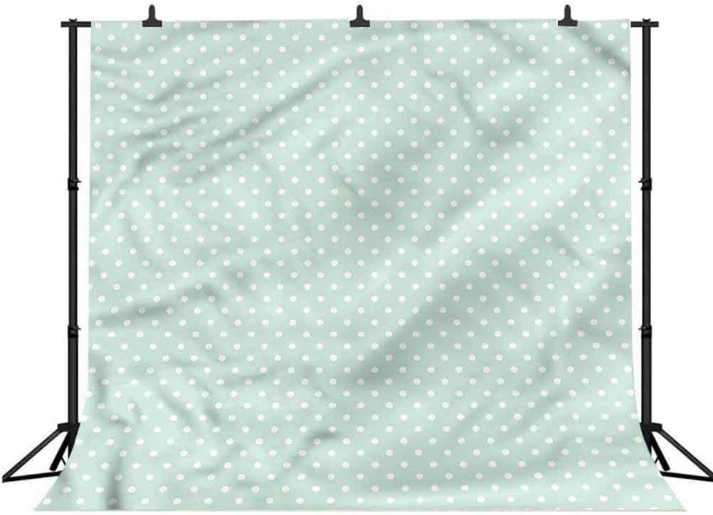 7x7FT Vinyl Backdrop Photographer,Green,Retro Little Polka Dots Photo Backdrop Baby Newborn Photo Studio Props