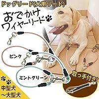 ドッグリード(犬用リード) おでかけワイヤーリード 全長70cm 中型犬~大型犬対応 ■2種類の内「ピンク」を1点のみです