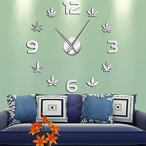 Weed Leaf - Reloj de pared grande, diseño de hojas de marihuana silenciosas y sin marco, color verde