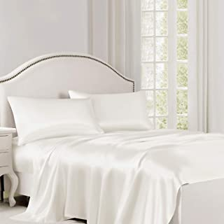 ElleSilk Pure Mulberry Silk Flat Sheet, Silk Bed Sheet, Premium Quality 100% Mulberry Silk, 22 Momme, King/Cal.King 102