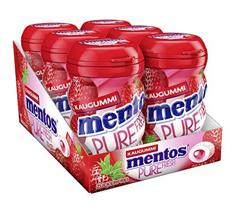 Mentos Gum Pure Fresh Erdbeere, 6er Box Kaugummi-Dragees, Erdbeergeschmack mit Frucht-Füllung