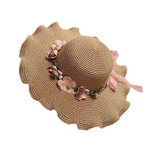 実用的なデザインと耐久性?女性女の子ビッグワイドつば太陽帽子子供子供フリル花麦わら帽子夏ビーチキャップ帽子ス