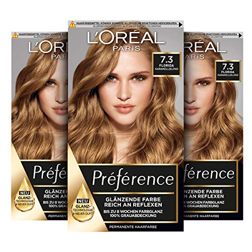 L'Oréal Paris Préférence 7.3 Karamellblond (Florida) 3er Pack(3 x 183 g)