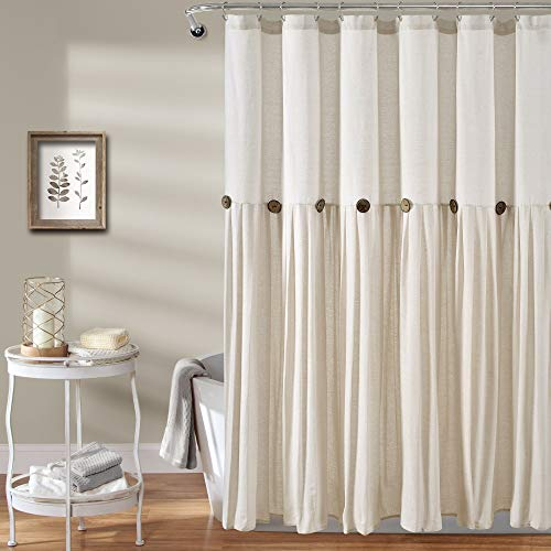 Lush Decor Linen Button Color Block Cotton Blend Shower Curtain, 72x72, Off White, Single