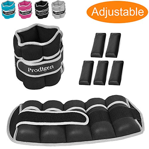 Prodigen Adjustable Ankle Weights Set for Men & Women Ankle Wrist Weight for Walking, Jogging, Gymnastics (Black, 5lbs Each)