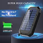 Solar Charger, 25000mAh Battery Solar Power Bank Portable Panel Charger with 36 LEDs and 3 USB Output Ports External Backup Battery for Camping Outdoor for iOS Android (Black) 13 【25000mAh Ultra High Capacity Solar Charger】The solar panel charger built-in 25000mAh Li-polymer battery, it's enough to charge an iPhone XS for 7.4 times, a Galaxy S9 Plus for 5.7 times, an iPad Pro for 1.6 times! 【Two Charging Methods】The Solar charger powerd by 5V/2A adapter(Not included) or solar. The blue indicator light is on when charging with the adapter, and the green indicator light is on when charging with solar panel. 【3-USB Ports for Charger】The solar charging powerbank has three USB ports that can charge three devices at the same time, which is convenient for yourself and your friends.