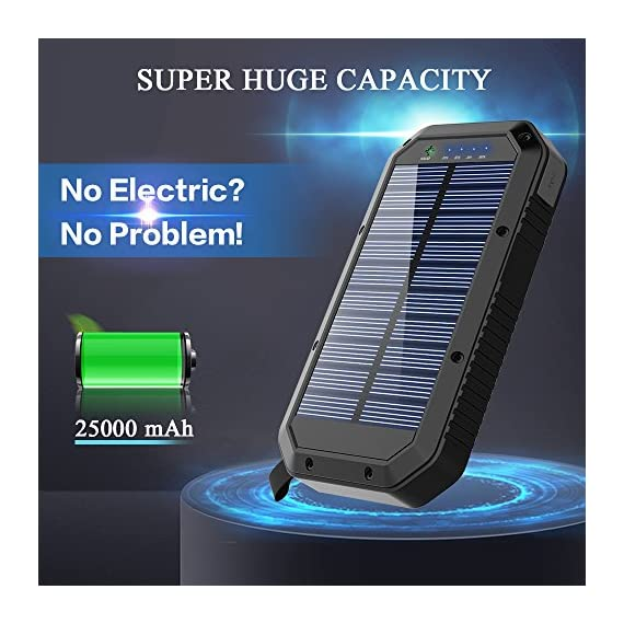 Solar Charger, 25000mAh Battery Solar Power Bank Portable Panel Charger with 36 LEDs and 3 USB Output Ports External Backup Battery for Camping Outdoor for iOS Android (Black) 3 【25000mAh Ultra High Capacity Solar Charger】The solar panel charger built-in 25000mAh Li-polymer battery, it's enough to charge an iPhone XS for 7.4 times, a Galaxy S9 Plus for 5.7 times, an iPad Pro for 1.6 times! 【Two Charging Methods】The Solar charger powerd by 5V/2A adapter(Not included) or solar. The blue indicator light is on when charging with the adapter, and the green indicator light is on when charging with solar panel. 【3-USB Ports for Charger】The solar charging powerbank has three USB ports that can charge three devices at the same time, which is convenient for yourself and your friends.