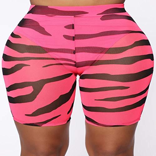 UnterhosenDamen Pantys Damen Sexy Frauen Leopardenmuster Bikini Cover UpMesh Fischnetz Durchsichtige Shorts Hohe Taille Radfahren Schwimmen Tanzshorts L Rot