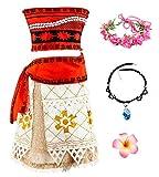 O.AMBW Disfraz de Moana Cosplay Princesa Vaiana Vestido Hawaiana Conjunto de 2 Piezas Top + Falda separada Ropa para niños Disfraz con Accesorios para Halloween Carnaval Regalo de cumpleaños