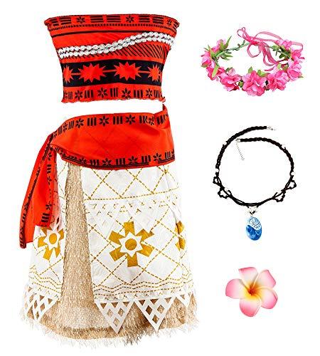 O.AMBW Disfraz de Moana Cosplay Princesa Vaiana Vestido Hawaiana Conjunto de 2 Piezas Top + Falda separada Ropa para nios Disfraz con Accesorios para Halloween Carnaval Regalo de cumpleaos