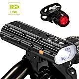 Nestling 1200 Lumen Rechargeable Bike Lights Front and Back - Ultra Bright Bicycle