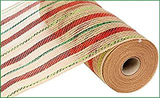 Christmas Mesh | 10 inch x 30 feet Poly Jute Metallic Ribbon (Red Lime Emerald Green) : RY800945