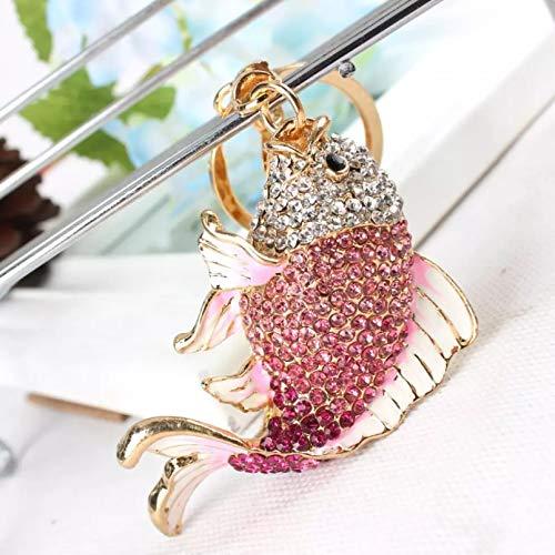 JINGRU Llavero,Llavero de pez Carpa Creativo Encantador de Moda con Colgante de Cristal de Diamantes de imitación, Bolso, Llavero, Accesorios para Mujer, Regalo