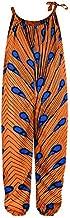 TENMET Little Girl's African Boho Print Jumsuits Bohemian Outfits with Adjustable Shoulder Strap for Toddler S Orange