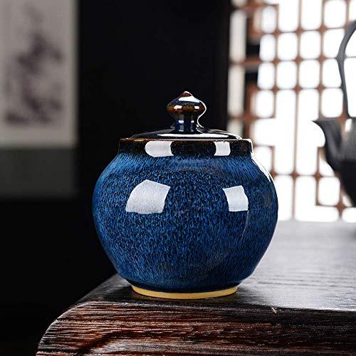 GCZZYMX Asche Urnen, Schöne Funeral Urn für eine kleine Menge von Menschenasche, Garten Keramik Aufbewahrungs Seal Urnen 9.4X9.4X9.5Cm, Brown,Blau