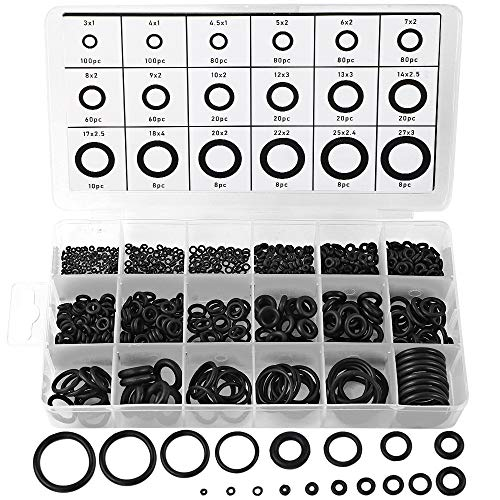 770pcs Rubber O Ring Assortment Kits 18 Sizes Sealing Gasket Washer Made of Nitrile Rubber NBR by HongWay for Car Auto Vehicle Repair, Professional Plumbing, Air or Gas Connections
