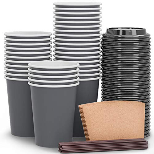 Luckypack Disposable Coffee Cups To Go with Travel Lids Sleeves and Straws 100% Biodegradable & Compostable Pla Eco Friendly Paper Coffee Cups 100 Sets of 12 oz