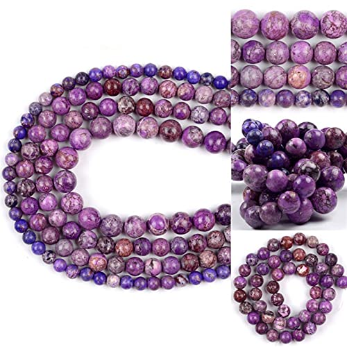 SAIYI 6-10mm Púrpura Lmperial Mar Sediment Turquesa Beads Redondo Piedra Natural Perlas Sueltas para joyería Hacer Pulseras DIY Hecho a Mano (Color : 8mm 46pcs Beads)