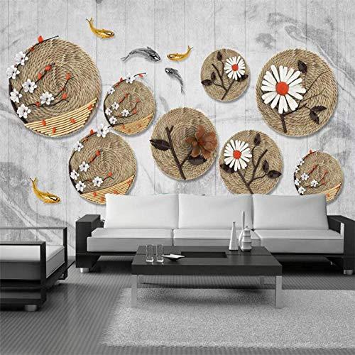 Papel Tapiz Personalizado Mural 3D Chino Zen Cuerda Cuerda Pez Mural Fondo Pared Sala De Estar Restaurante Papel Tapiz 3D,200*140Cm