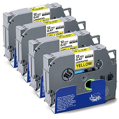 UniPlus Nastro Cassette Etichette Compatibile per Brother TZ Tape Tze-631 Tze631 Nastro Laminato per Brother GL-H100 PT H100LB 1000 H107 H101C H105 H101C, 12mm x 8m, Nero su Giallo, 4 Pz