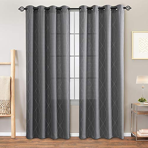 """Sheer Embroidered Curtains for Living Room Grommet Top Embroidery Curtains for Bedroom 84"""" L Grey"""